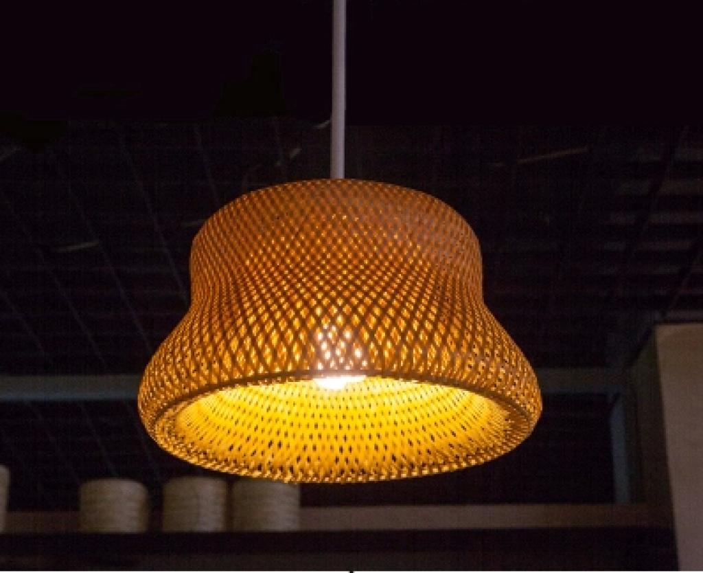 竹编灯罩吊灯日式纯手工中式田园民族风官帽灯罩