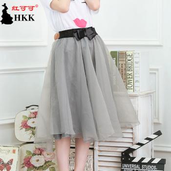 Organza bow skirt of summer Korean version of the Joker and put an umbrella skirt