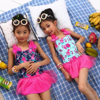 Children skirt style swimwear cute flower children one-piece swimsuit