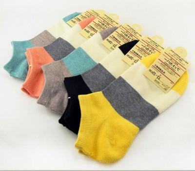 Original boat socks socks wholesale explosions cotton women boat socks wide spell color stripe cotton socks