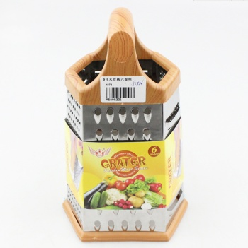 Multifunction stainless steel kitchen tools with plastic handle surface planing 9 inch wood handle six-sided Planer