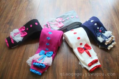 Pretty princess autumn combed cotton bow children nine Leggings