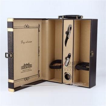 厂家直销黑色欧式花纹双支皮盒