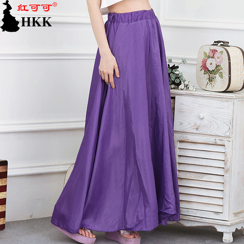 Solid color skirt literary temperament Korean version of the plus size dress Pearl Cotton swing skirt