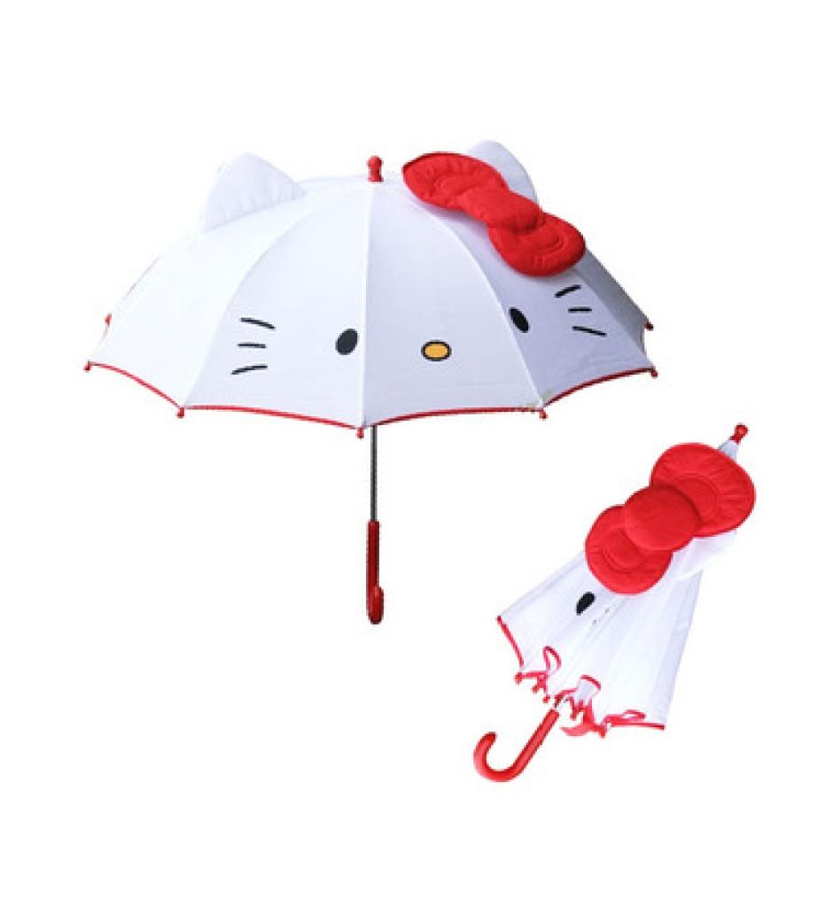 时尚靓丽可爱kt猫儿童凯特猫雨伞卡通公主个性长柄女童