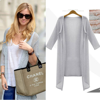 Factory direct thin Cardigan women's summer sun protection clothing cropped sleeve slim long sweater coat
