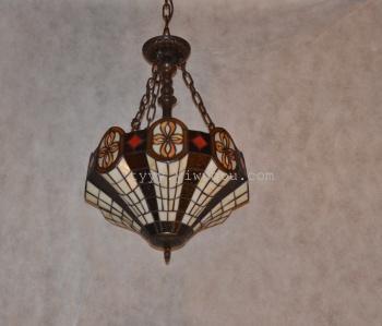 田园灯饰 美式乡村风格 彩色玻璃纯手工焊接制作16寸吊灯