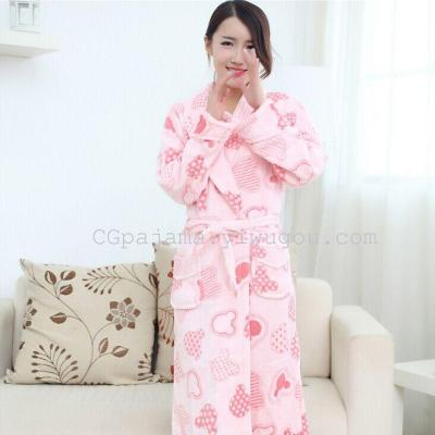 b808243116 New winter Nightgown flannel gown pocket Coral Fleece Pajamas cartoon  thickening