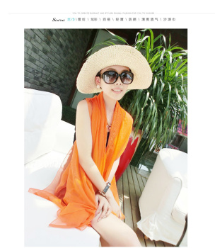 Amazing sleeveless Chiffon Scarf sunscreen summer female long multifunctional variety chiffon shirt cardigan