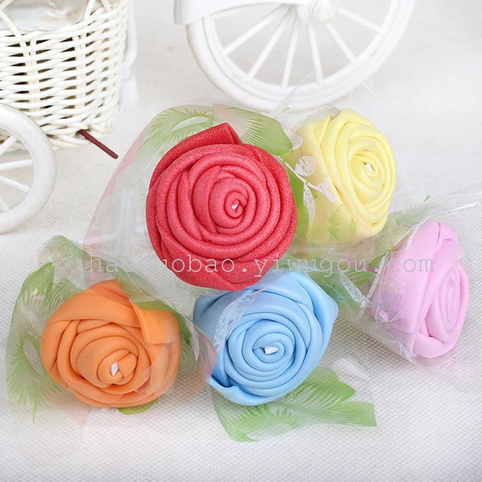 手工折玫瑰花 彩色玫瑰海绵折纸 手工折纸 0526054_宝