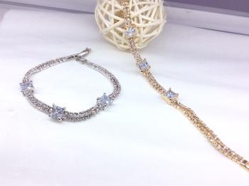 New foreign trade gold alloy claw chain LOGO zircon bracelet Valentine 's Day barley bracelet
