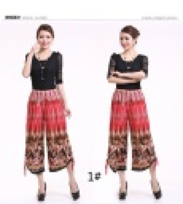 Middle-aged female summer skirt wide-leg cropped trousers pants MOM and women cropped trousers casual pants wholesale