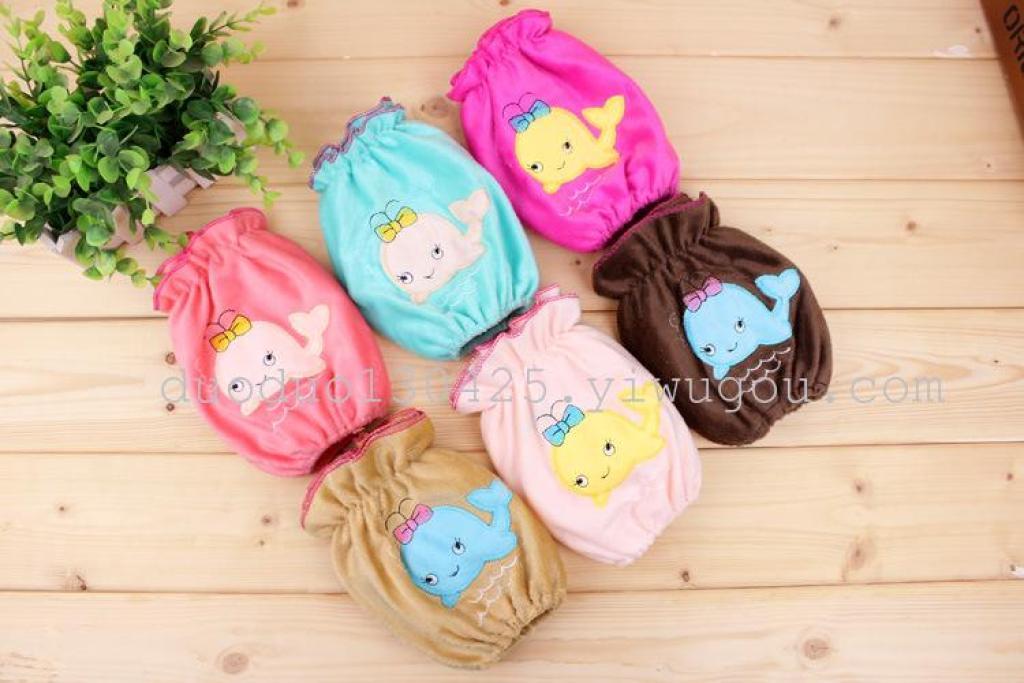 厂家袖套批发 可爱小海豚刺绣女生毛绒袖套 儿童学生家居套袖