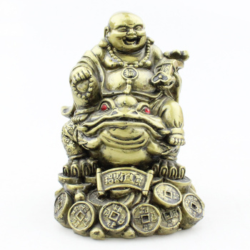 9.9 yuan 10 yuan store distribution of goods source resin crafts imitation copper set series riding frog laughing Buddha