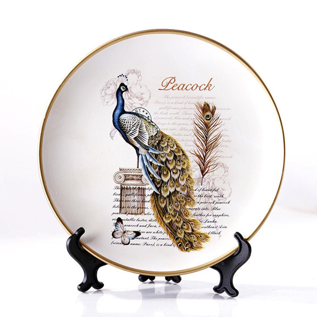 欧式客厅复古装饰盘彩绘陶瓷花鸟摆盘美式田园挂盘