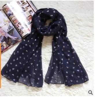 Knitted fabric manufacturer direct wholesale Korean version of pure silver hot anchor lady cotton scarf fabric