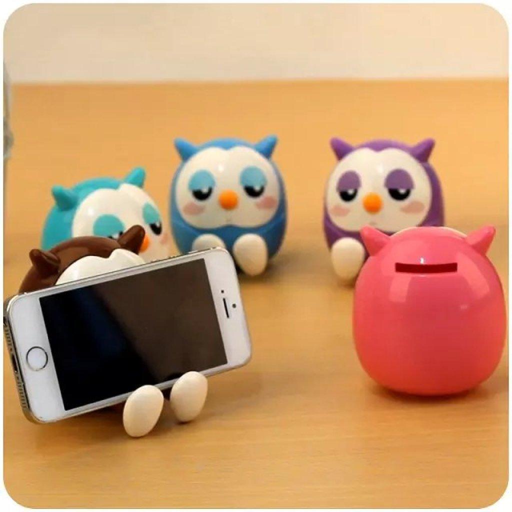 猫头鹰手机支架带钱罐 可爱卡通手机座 猫头鹰储蓄罐手机座双用