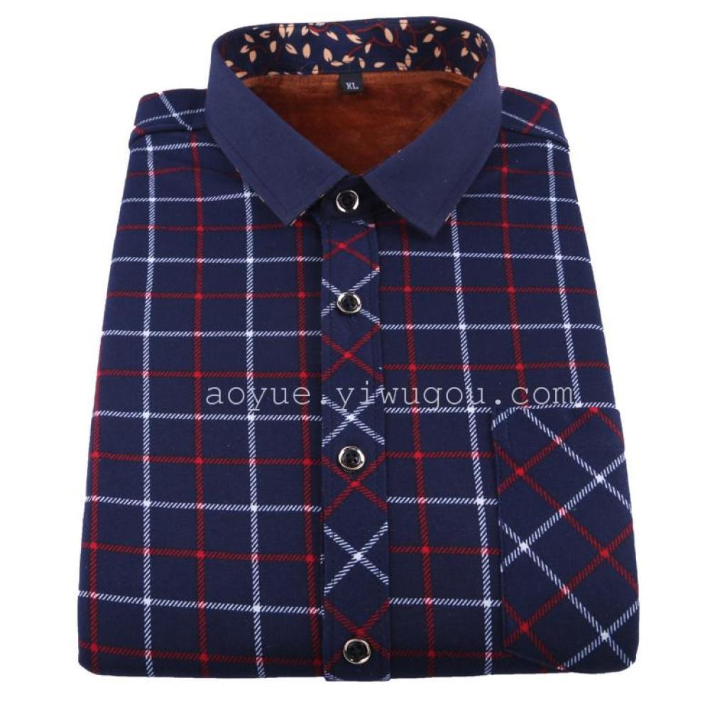 男士商务长袖衬衫 男装中年人保暖衬衫