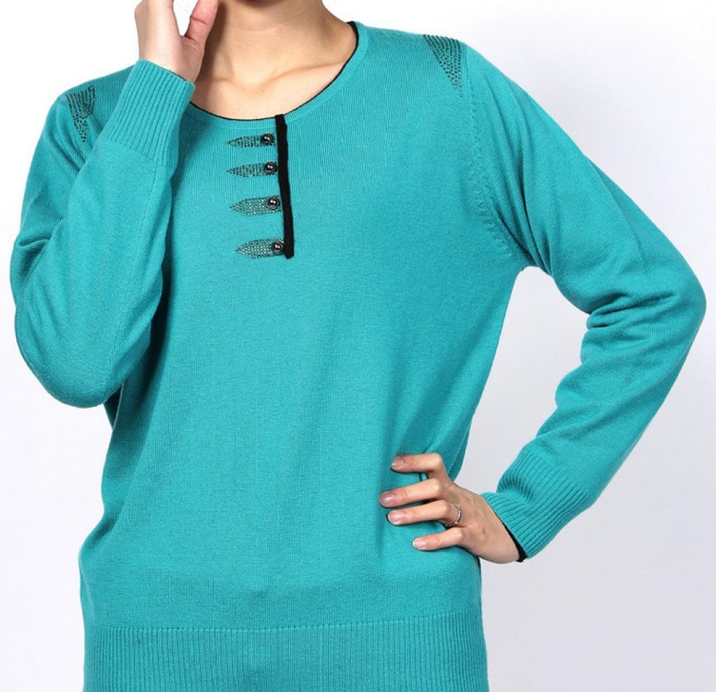 秋冬季新款中老年针织衫女式 宽松镶钻羊毛衫女装