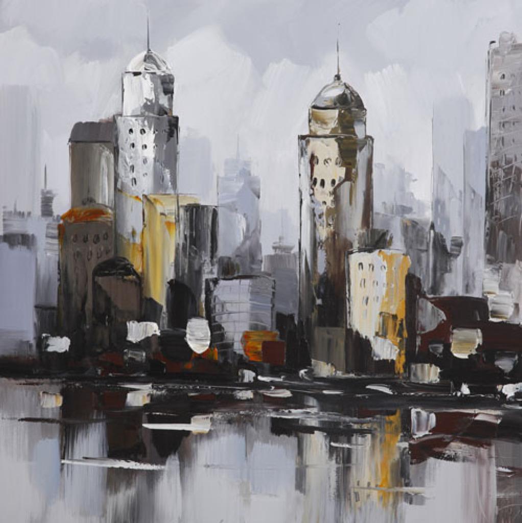 手绘油画 抽象 建筑