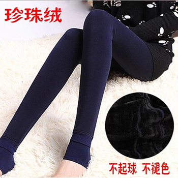 Autumn and winter can not ball pearl velvet 300g warm pants one foot nine Leggings