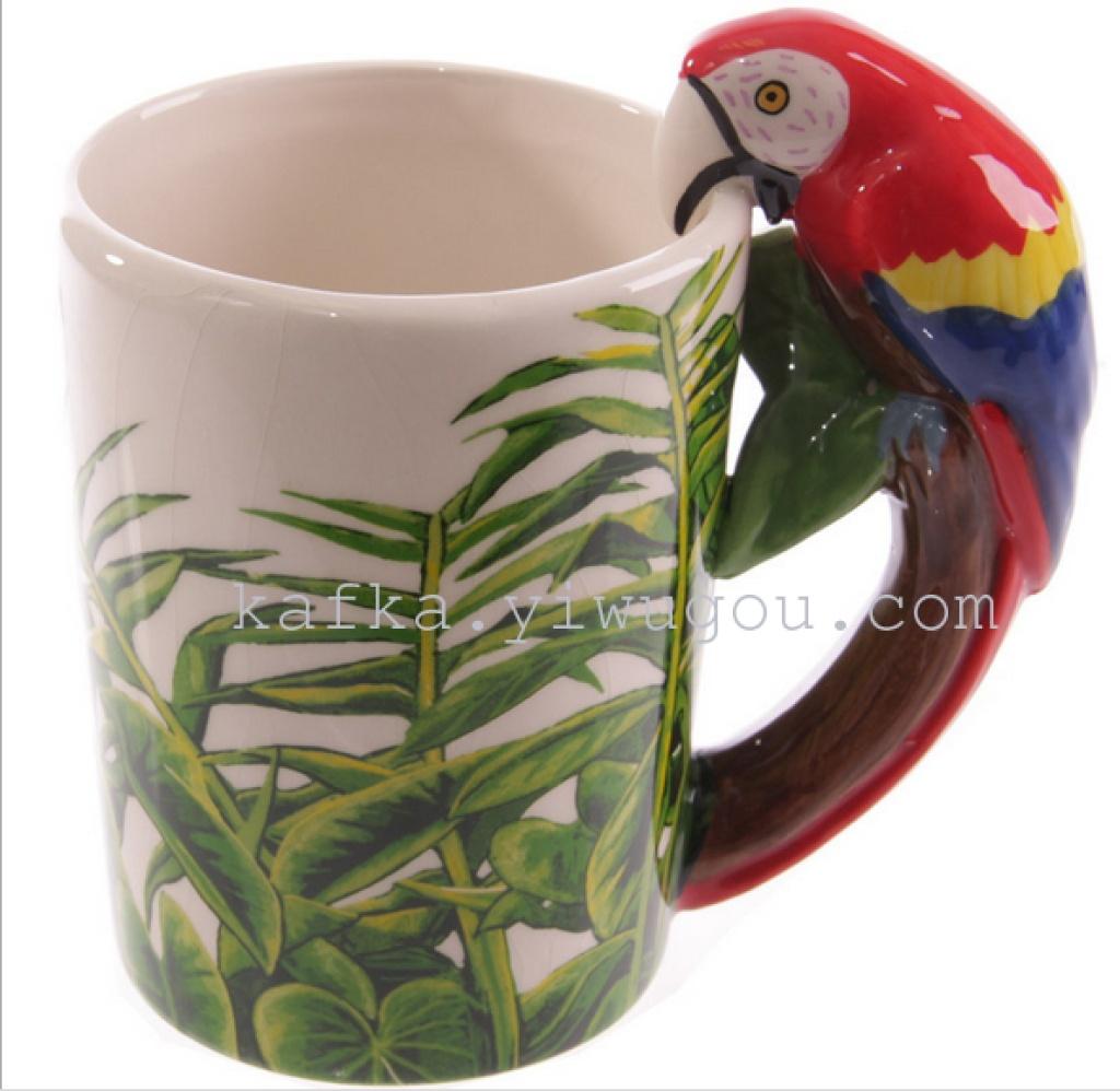 新款动物水杯 创意鹦鹉陶瓷杯