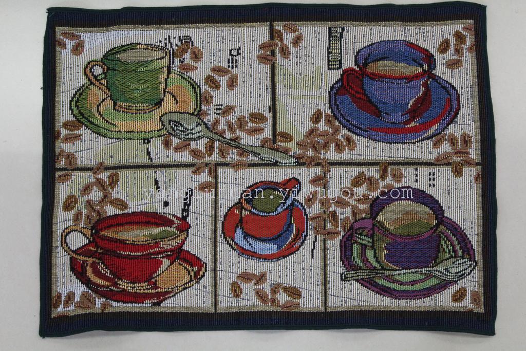 欧式田园风五咖啡杯图案棉麻提花杯垫