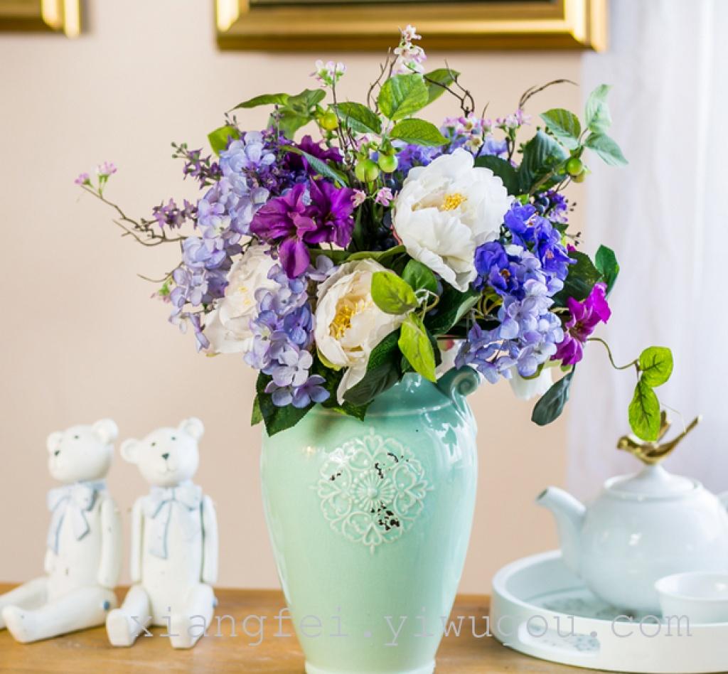 组合花盆 茶几摆设 家居摆件 绢花 假花 欧式客厅