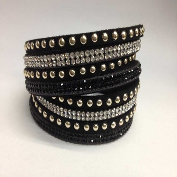 European and American popular double circle rhinestone bracelet
