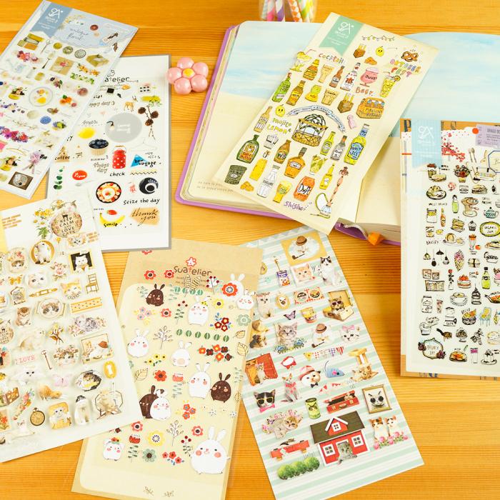 韩国小清新透明贴纸防水DIY包装装饰手机装饰日记相册贴画植物