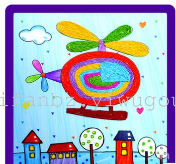 纸绳画幼儿手工diy材料包幼儿园学校纸绳粘贴画