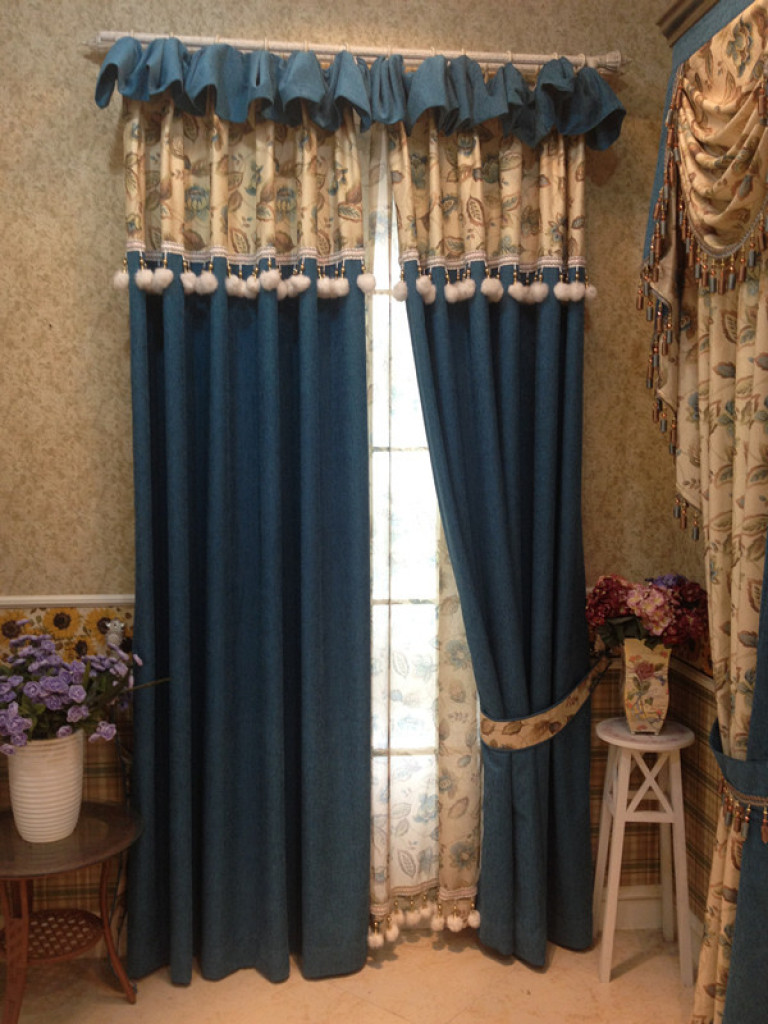 欧式田园现代混搭风格高档客厅卧室宝蓝色雪尼尔遮光
