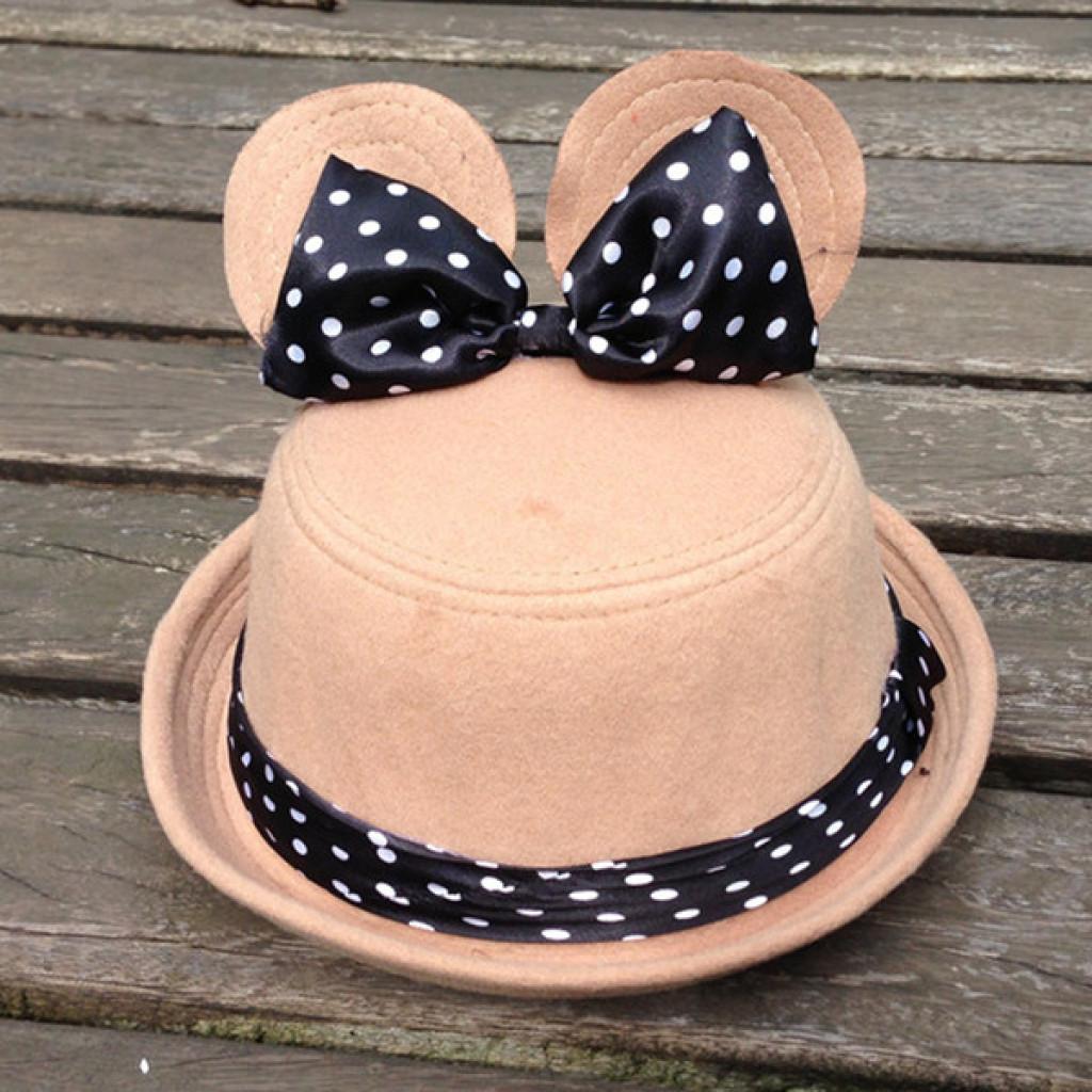 可爱波点兔耳朵童帽礼帽 卡通儿童圆顶帽子