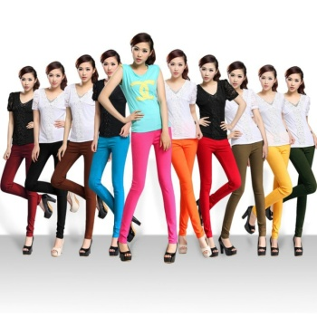 High waist stretch skinny jeans with bound feet Candy-colored spandex tight thin leggings