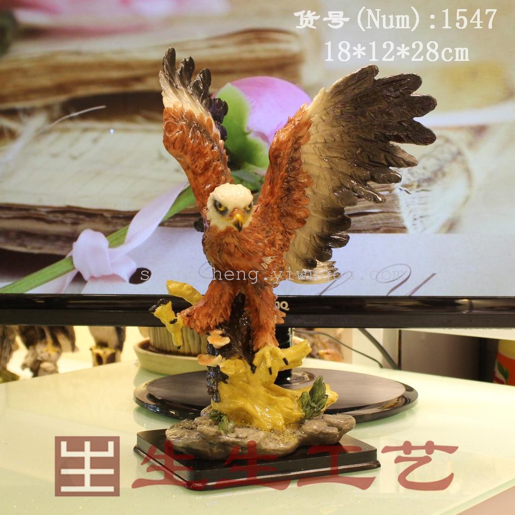 欧美时尚 工艺品摆件 树脂写实动物伸爪飞鹰1547