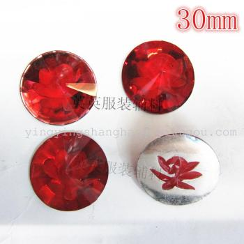 30mm round satellite non - porous resin carved drill engraved flower flower jewelry accessories