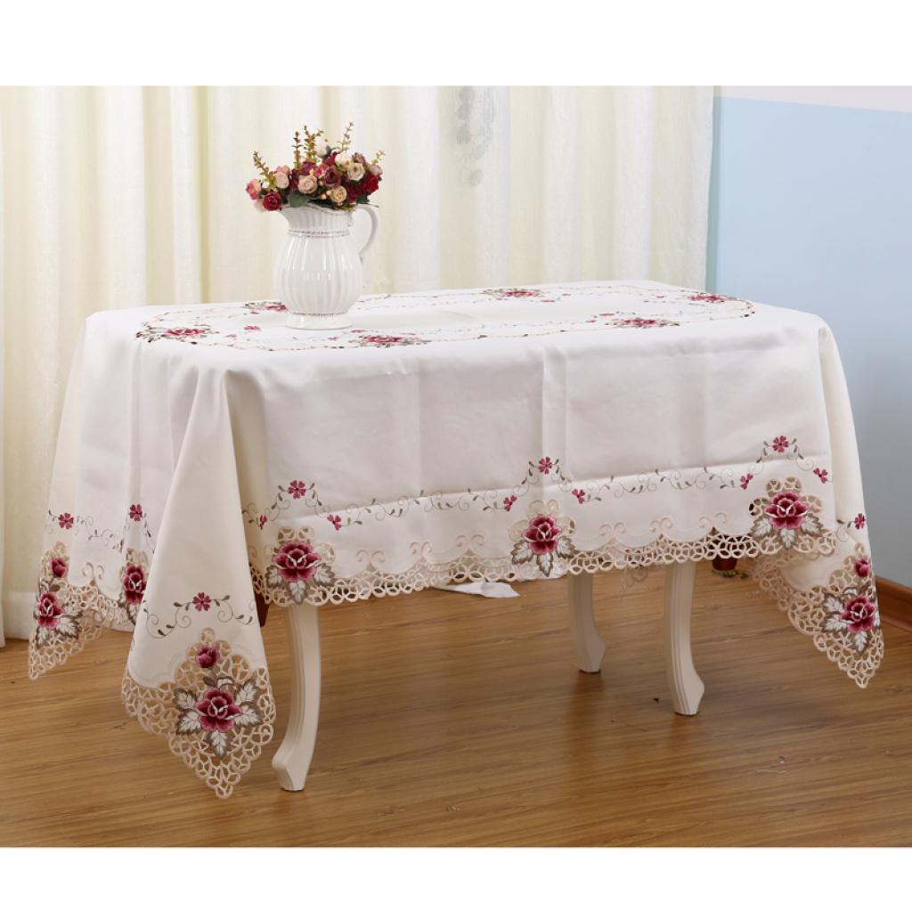 长方形桌布圆形布绣花桌布方形餐桌布欧美桌垫