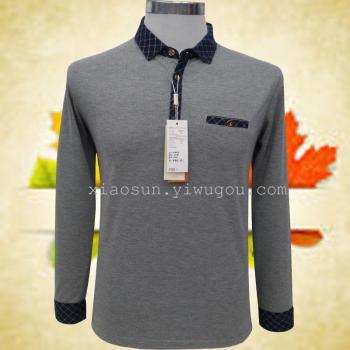 gli uomini di mezza età t - shirt lunga manica uomini 'primavera uomini padre un solido camicia di maglia top