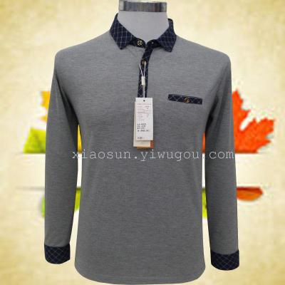 Middle-aged men t shirt long sleeve men's spring men's father put a solid color shirt knit top