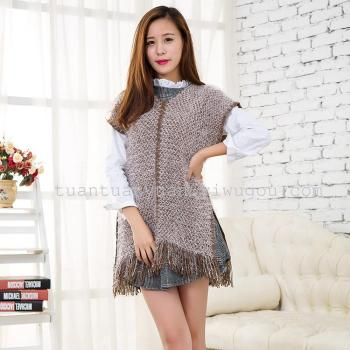Manufacturers selling warm wool knitted fabric V neck short sleeve coat tassel wool shawls Cloak