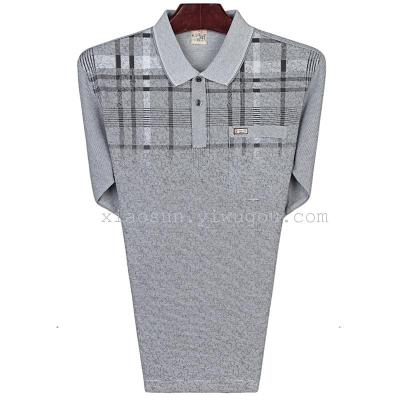 New lapel long sleeve t shirt my father put cotton t-shirt thin middle-aged men's long sleeve bottoming shirt