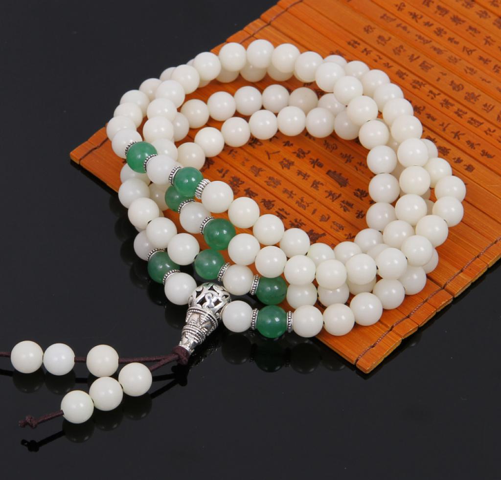 白玉菩提根108颗手串 菩提根搭配绿色玛瑙手串