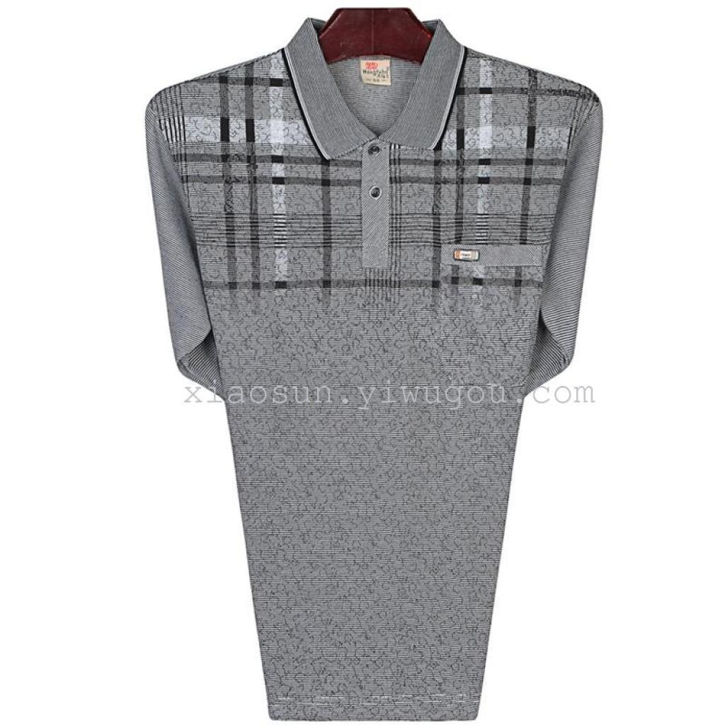 nuovo risvolto manica lunga t - shirt mio padre ha messo la maglietta di cotone sottile che gli uomini di mezza eta 'che camicia a maniche lunghe