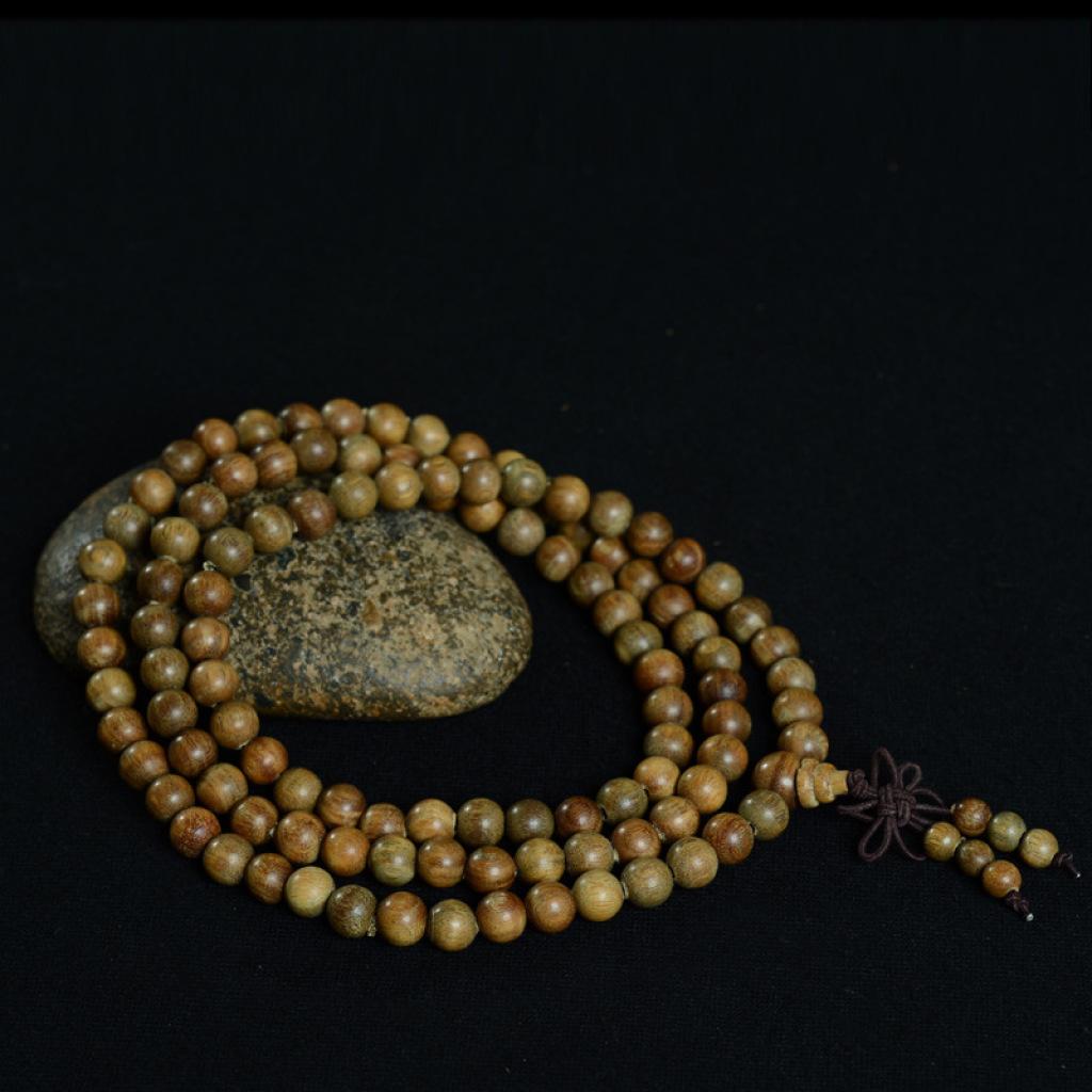 天然优质绿檀木佛珠檀香木手串手链结缘念珠