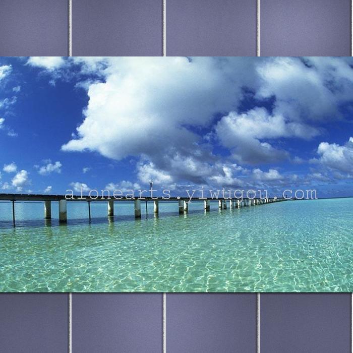 风景装饰画客厅挂饰卧室冰晶无框画油画海洋马尔代夫