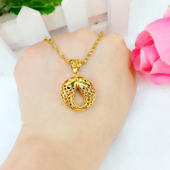 Euro fashion openwork PISCES pendant luxury wild long gold color does not fade