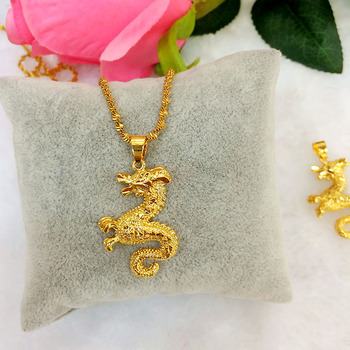 24K Dragon pendant long faded alluvial gold dragon pendant well women's gold-plated necklace euro women pendant