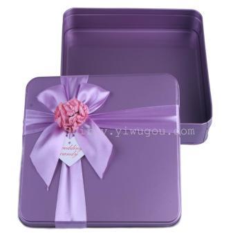 马口铁盒 淡紫色正长方形婚庆喜糖盒子 巧克力铁盒