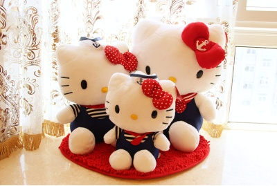 Plush Doll genuine helloKitty Hello Kitty doll KT plush toy cat Navy
