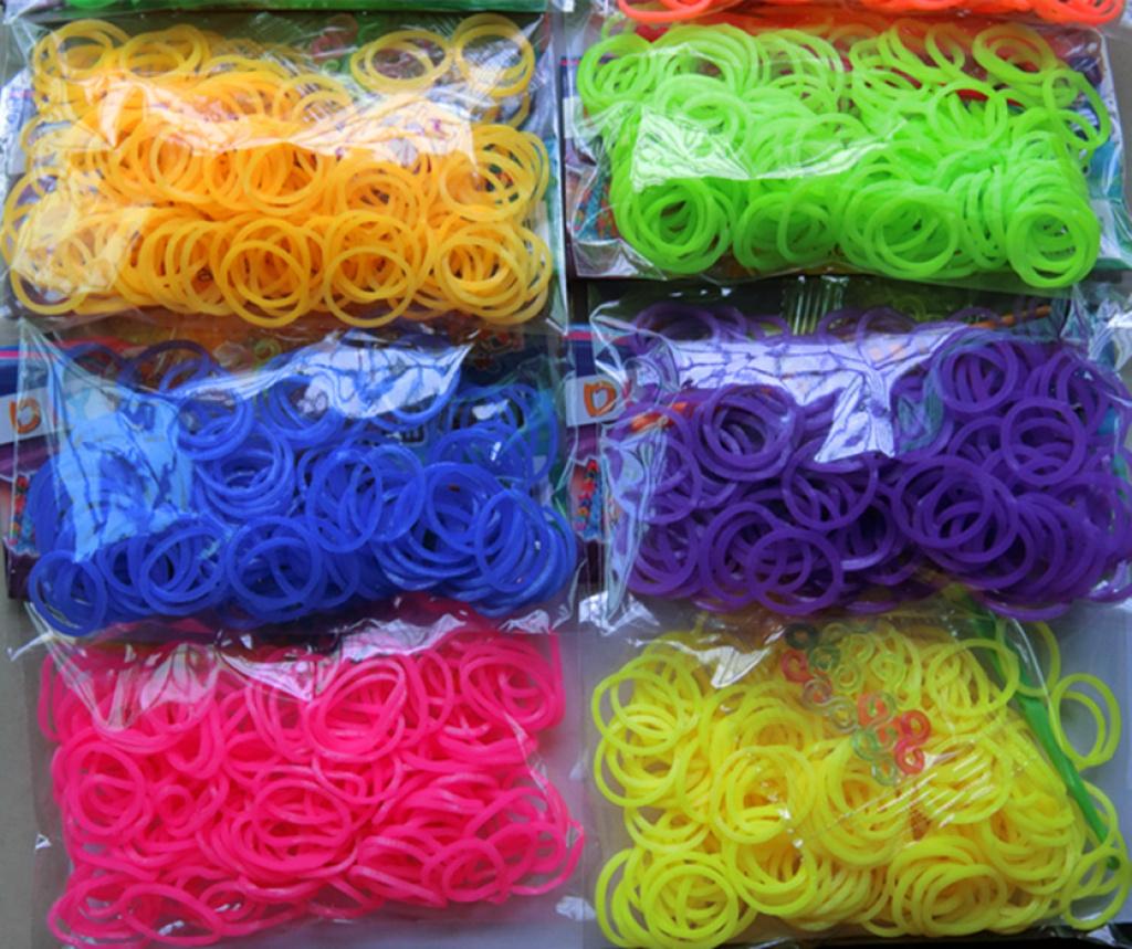 创意diy彩虹手编手链橡皮筋12组纯色200装硅胶圈批发